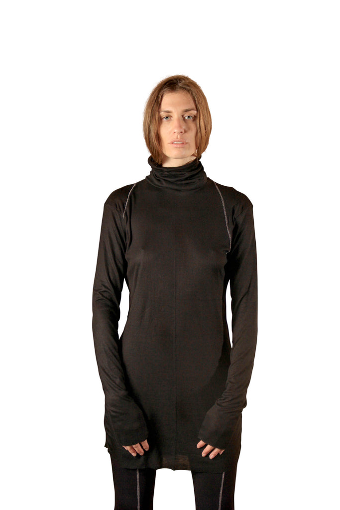 Shop Emerging Slow Fashion Genderless Avant-garde Designer Mark Baigent Black Atap Long Sleeve Turtleneck Top at Erebus