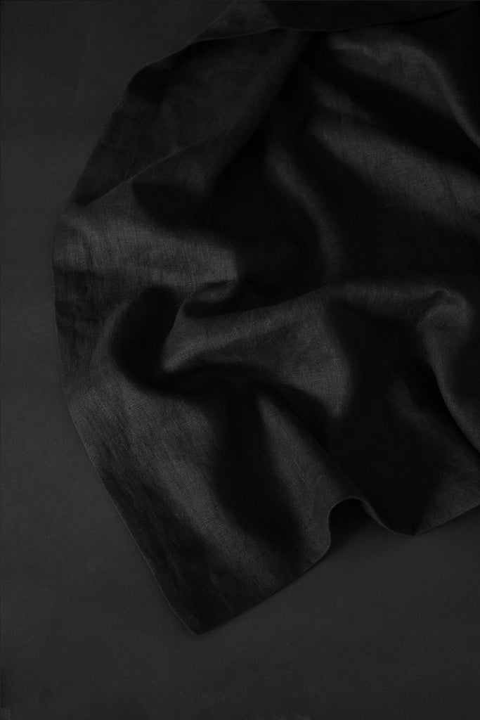 Shop Emerging Conscious Avant Garde Brand Atelier Kesa Black Washed Linen Blanket at Erebus