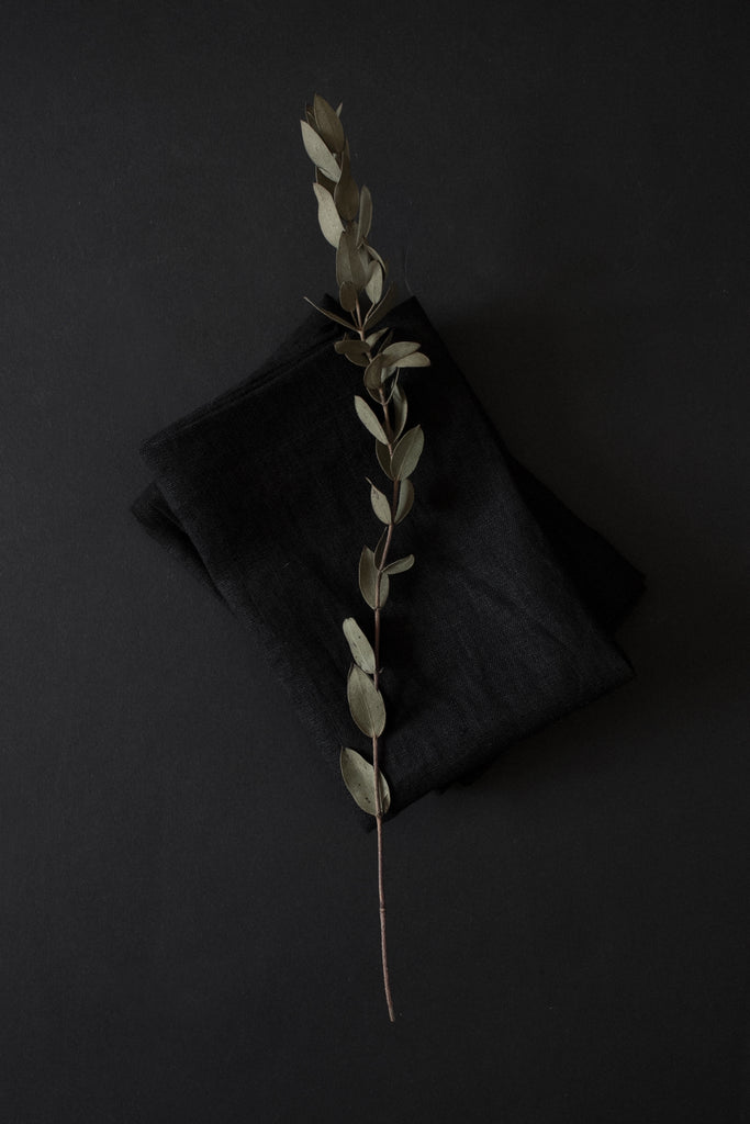 Shop Emerging Conscious Avant-garde Brand Atelier Kesa Black Washed Linen Placemats at Erebus