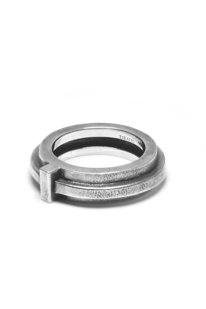 Shop Emerging Avant-garde Slow Fashion Unisex Brand Draug Jewellery Silver Atrium Ring at Erebus