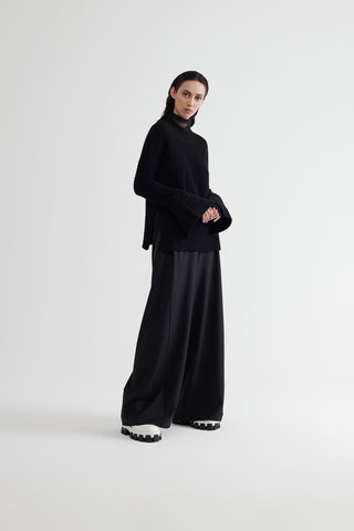 Conscious Womenswear Brand Symetria Black Attained Wide Leg Pants at Erebus