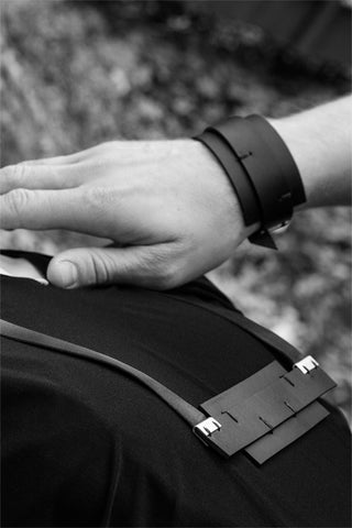 Shop emerging slow fashion accessory brand Aumorfia IASIS Collection Black Leather Depolo Cuff Bracelet at Erebus