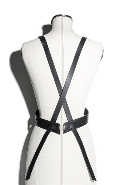 Shop emerging slow fashion accessory brand Aumorfia IASIS Collection Black Leather Hiastee Harness Bodypiece at Erebus
