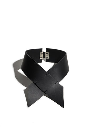 Shop emerging slow fashion accessory brand Aumorfia IASIS Collection Black Leather Hiastee Choker Necklace at Erebus