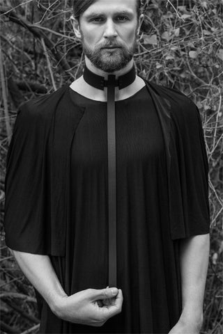 Shop emerging slow fashion accessory brand Aumorfia IASIS Collection Black Leather Messos Pendant Choker at Erebus