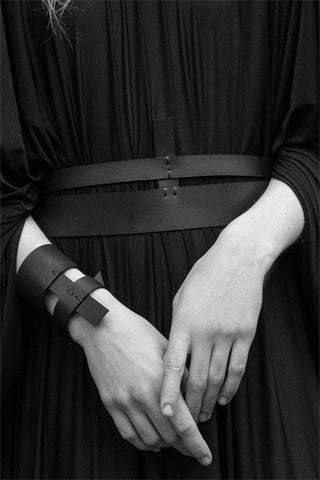 Shop emerging slow fashion accessory brand Aumorfia IASIS Collection Black Leather Orthon Belt at Erebus