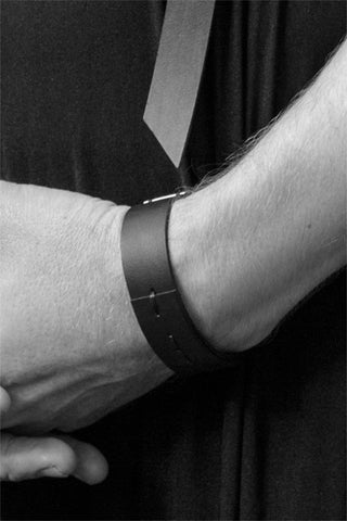 Shop emerging slow fashion accessory brand Aumorfia IASIS Collection Black Leather Peihees Cuff Bracelet at Erebus