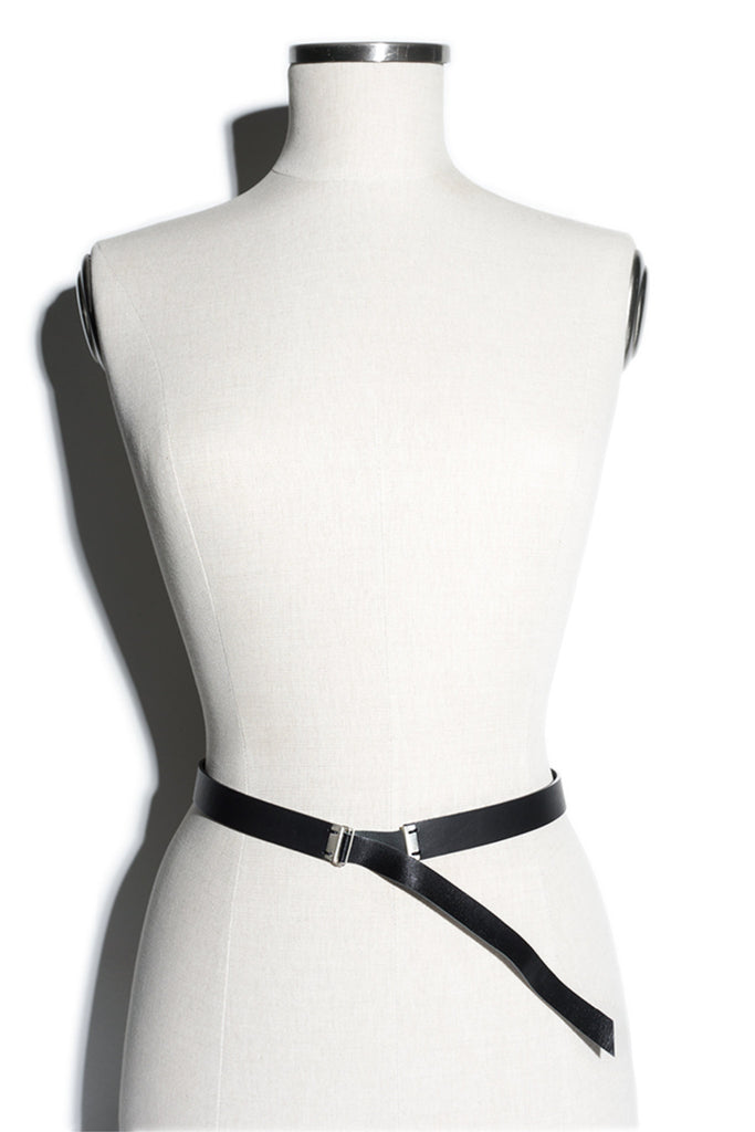 Shop emerging slow fashion accessory brand Aumorfia IASIS Collection Black Leather Stropheon Belt at Erebus