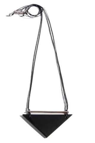 Emerging slow fashion accessory brand Aumorfia black leather BAR I TRNGL Pendant with sterling Silver - Erebus - 1