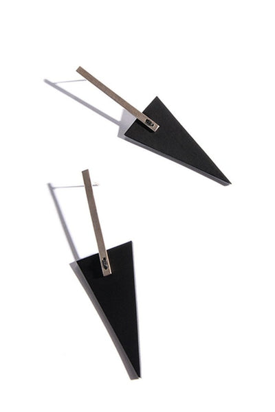 Emerging slow fashion accessory brand Aumorfia black leather BAR TRNGL L Earrings with sterling Silver - Erebus - 2