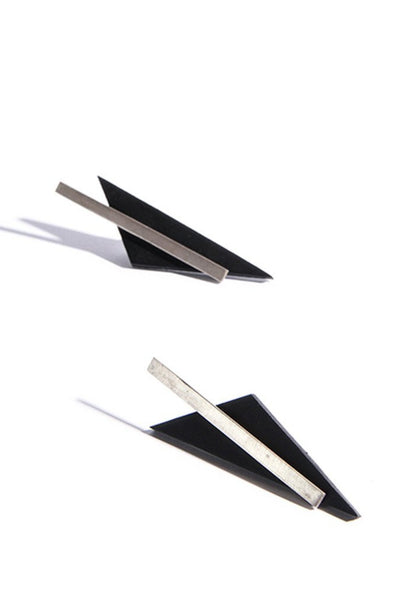 Emerging slow fashion accessory brand Aumorfia black leather BAR TRNGL Earrings with sterling Silver - Erebus - 2