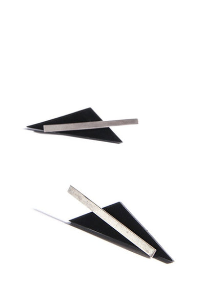 Emerging slow fashion accessory brand Aumorfia black leather BAR TRNGL Earrings with sterling Silver - Erebus - 3