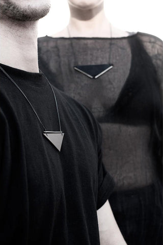 Emerging slow fashion accessory brand Aumorfia black leather BAR II TRNGL L Pendant with sterling Silver - Erebus - 4