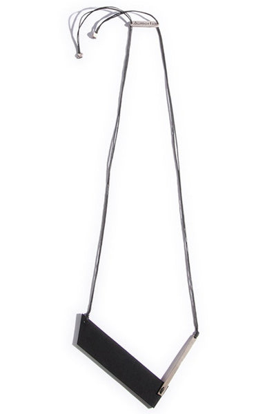Emerging slow fashion accessory brand Aumorfia black leather BAR N Pendant with sterling Silver - Erebus - 1