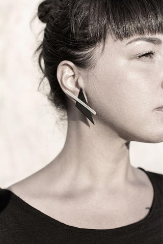 Emerging slow fashion accessory brand Aumorfia black leather BAR TRNGL Earrings with sterling Silver - Erebus - 5