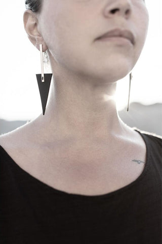 Emerging slow fashion accessory brand Aumorfia black leather BAR TRNGL L Earrings with sterling Silver - Erebus - 3