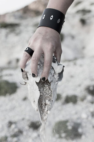 Emerging slow fashion accessory brand Aumorfia black leather EVILEYE L Cuff with sterling Silver - Erebus - 4