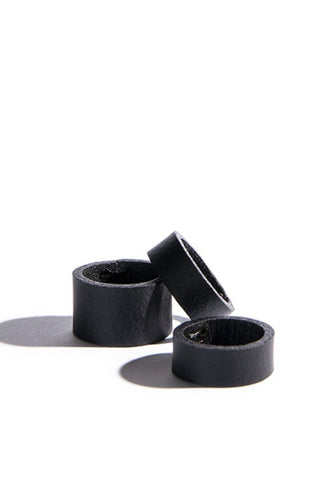 Shop emerging slow fashion accessory brand Aumorfia black leather PL Ring with PS Ring Set - Erebus - 4