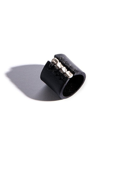 Shop emerging slow fashion accessory brand Aumorfia black leather SPHERES IV Ring with sterling Silver - Erebus - 2