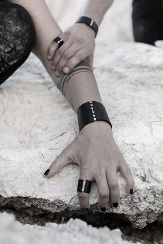 Shop emerging slow fashion accessory brand Aumorfia black leather SPHERES SM Cuff with sterling Silver - Erebus - 4