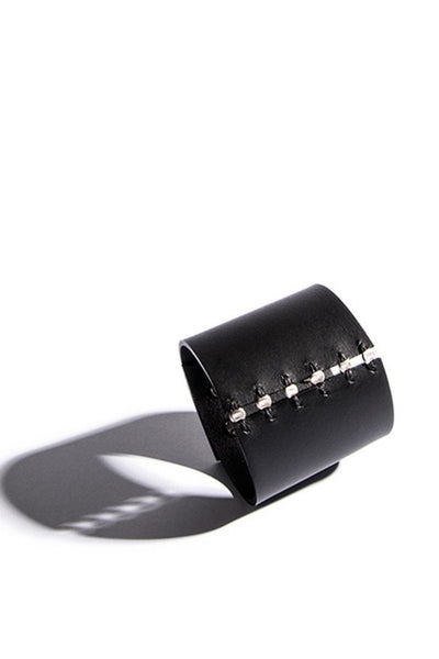 Shop emerging slow fashion accessory brand Aumorfia black leather SPHERES L Cuff with sterling Silver - Erebus - 2