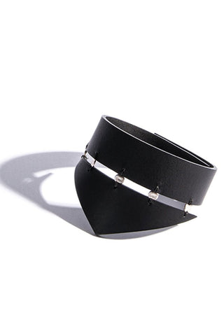Shop emerging slow fashion accessory brand Aumorfia black leather SPHERES TRNGL Cuff with sterling Silver - Erebus - 1