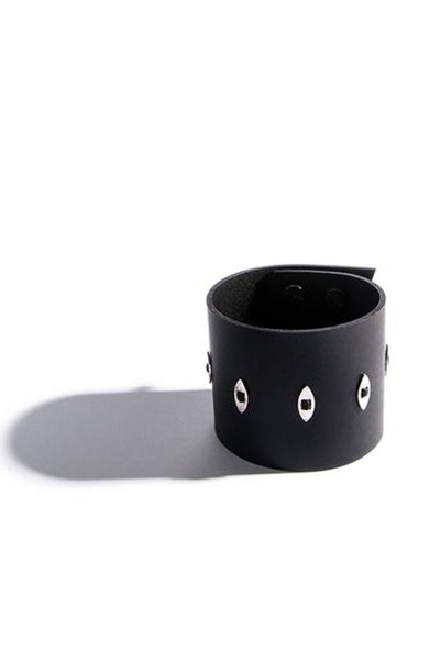 Emerging slow fashion accessory brand Aumorfia black leather EVILEYE L Cuff with sterling Silver - Erebus - 1