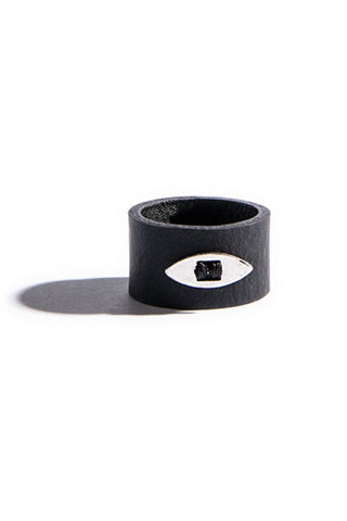 Emerging slow fashion accessory brand Aumorfia black leather EVILEYE Ring with sterling Silver - Erebus - 1