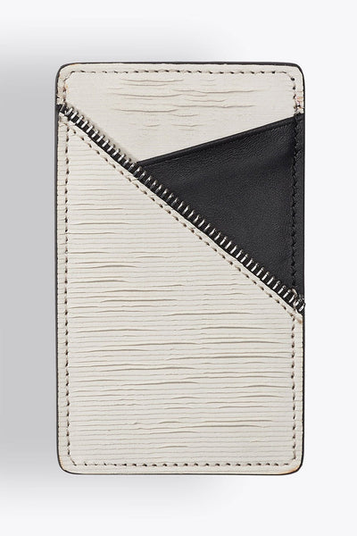 Shop emerging avant-garde accessory brand South Lane Avant Raw White Leather Cardholder - Erebus