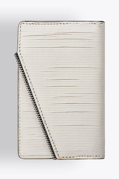 Shop emerging avant-garde accessory brand South Lane Avant Raw White Leather Wallet - Erebus