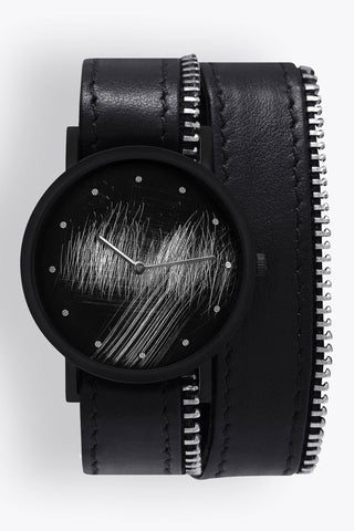Shop emerging avant-garde accessory brand South Lane Avant Surface Black Double Wrap Zip - Erebus
