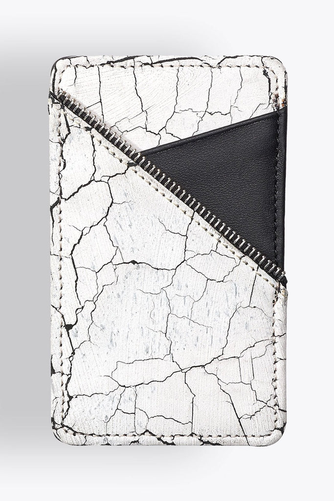 Shop emerging avant-garde accessory brand South Lane Avant Verge White Cracked Leather Cardholder - Erebus