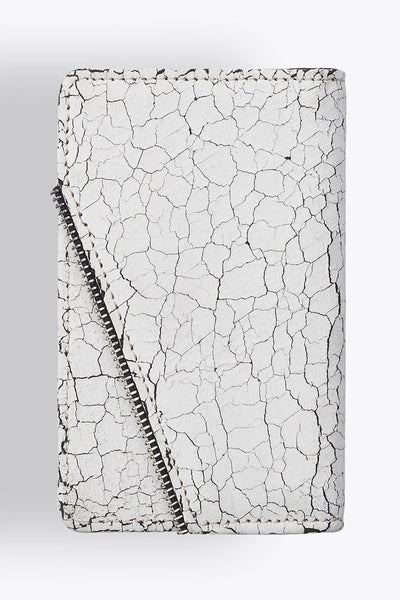Shop emerging avant-garde accessory brand South Lane Avant Verge White Cracked Leather Wallet - Erebus