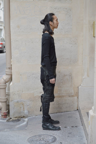 Shop Couture Conscious Dark Avant-garde Luxury Designer Brand Sandrine Philippe SS20 Homme Collection Black Patchwork Joggers at Erebus