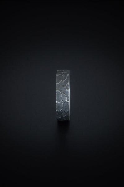 Shop emerging slow fashion unisex jewellery brand Møsaïs Silver Burned Ring - Erebus