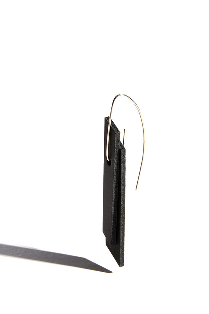 Shop emerging slow fashion accessory brand Aumorfia black leather PRLL earrings - Erebus