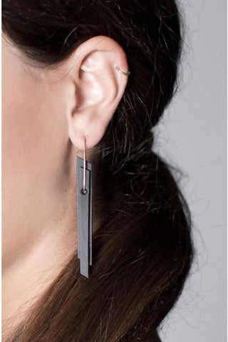 Shop emerging slow fashion accessory brand Aumorfia black leather PRLL earrings - Erebus - 5