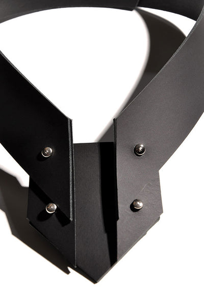 Shop emerging slow fashion accessory brand Aumorfia black leather VM choker - Erebus