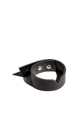 Shop emerging slow fashion accessory brand Aumorfia black leather VS bracelet - Erebus