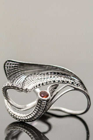 Shop Emerging Slow Fashion Avant-garde Brands Yaron Shmerkin X Vague Collaboration Silver and Red Sapphire Victory Ring at Erebus
