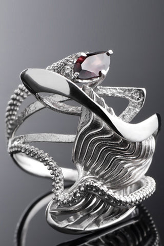 Shop Emerging Slow Fashion Avant-garde Brands Yaron Shmerkin X Vague Collaboration Silver and Red Sapphire First Wave Ring at Erebus