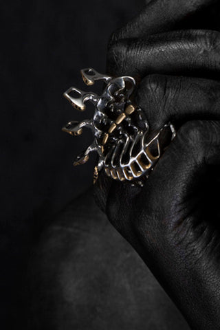 Shop Emerging Slow Fashion Avant-garde Brands Yaron Shmerkin X Vague Collaboration Silver and Red Sapphire Dragon Ring at Erebus