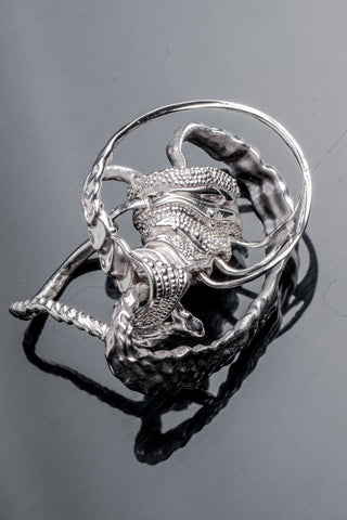 Shop Emerging Slow Fashion Avant-garde Brands Yaron Shmerkin X Vague Collaboration Silver FA Ring at Erebus