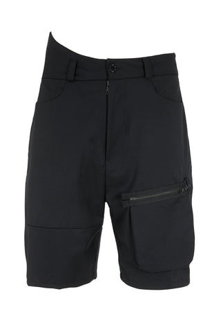 Shop Emerging Slow Fashion Avant-garde Unisex Brand Dhenze Kollektion 5 Black Vault Waist Shorts at Erebus