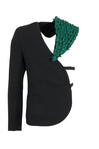 Shop Emerging Slow Fashion Avant-garde Unisex Brand Dhenze Kollektion 5 Black Denki Half Blazer with Green Cork Shoulder Epaulette at Erebus