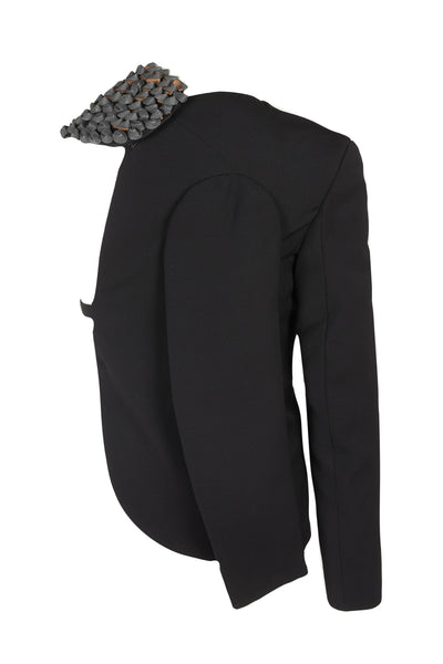Shop Emerging Slow Fashion Avant-garde Unisex Brand Dhenze Kollektion 5 Black Denki Half Blazer with Grey Cork Shoulder Epaulette at Erebus