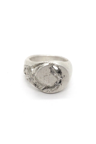 Shop Emerging Slow Fashion Avant-garde Jewellery Brand OSS Haus Broken Dreams Collection White Silver Broken Signet Ring at Erebus