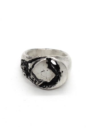 Shop Emerging Slow Fashion Avant-garde Jewellery Brand OSS Haus Broken Dreams Collection Oxidised Silver Broken Signet Ring at Erebus