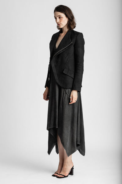Shop Emerging Conscious Avant-garde Genderless Brand Venia Collection Black Omni Pleated Buchanan Asymmetric Zip Blazer at Erebus