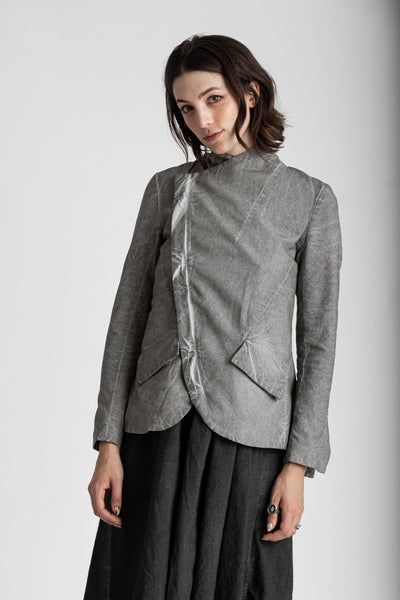 Shop Emerging Conscious Avant-garde Genderless Brand Venia Collection Dust Omni Pleated Buchanan Asymmetric Zip Blazer at Erebus
